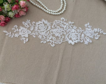 White Lace Appliques Venice Lace Flower Collars Corsage Costome Decor Lace Patches 1 Pair YL188