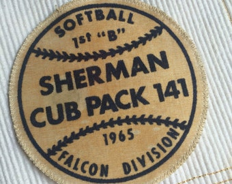 Vintage Cub Scout Softball Patch Circa Mid Sixties 1960s  RARE Scouting Scout Sports Boy Scouts Cub Scouts Tween Sports Little League