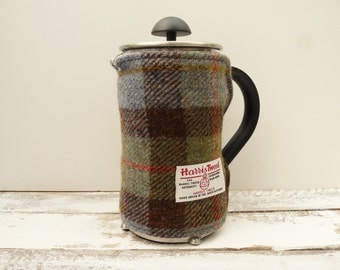 Tartan Harris Tweed Cafetiere Cover, French Press Cover, Scottish Tartan Gift, New Home Gift, Handmade Coffee Pot Cover, coffee blanket
