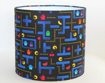 Handmade Lampshade Retro Arcade 80s Pacman 20cm 25cm 30cm Lightshade Novelty Childrens