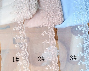 Cream lace fabric ivory embroidered lace with double for Double sided tape for wedding dress