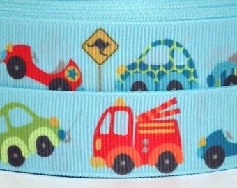 "Cars and Trucks 7/8"" Grosgrain Ribbon - Cars Ribbon - 3 yards Cars and Trucks Grosgrain Ribbon - 22 mm Cars Ribbon"