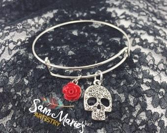 Silver Sugar Skull Bangle Bracelets