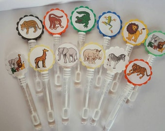 12 Personalized Jungle Animal Themed Bubble Wand Party Favors. Wedding Bubbles, Animal themed. Tiger, Lion, Giraffe, Elephant, Zebra.Safari