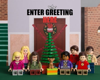 Personalised A5 Christmas Card printable featuring Big Bang Theory themed LEGO minifigs (Digital Product)