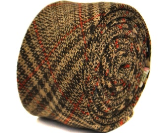 brown and red checked 100% tweed wool tie by Frederick Thomas FT2149