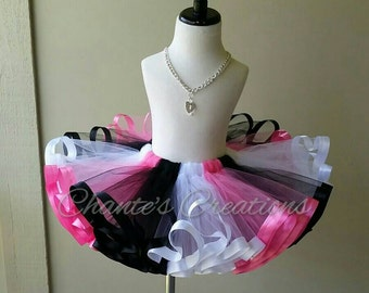 Pink, black and white ribbon trimmed tutu ONLY