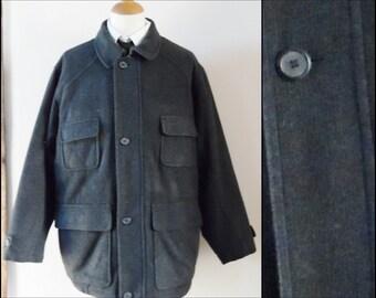 Mans Burton grey wool jacket three quarter length warm winter jacket size L