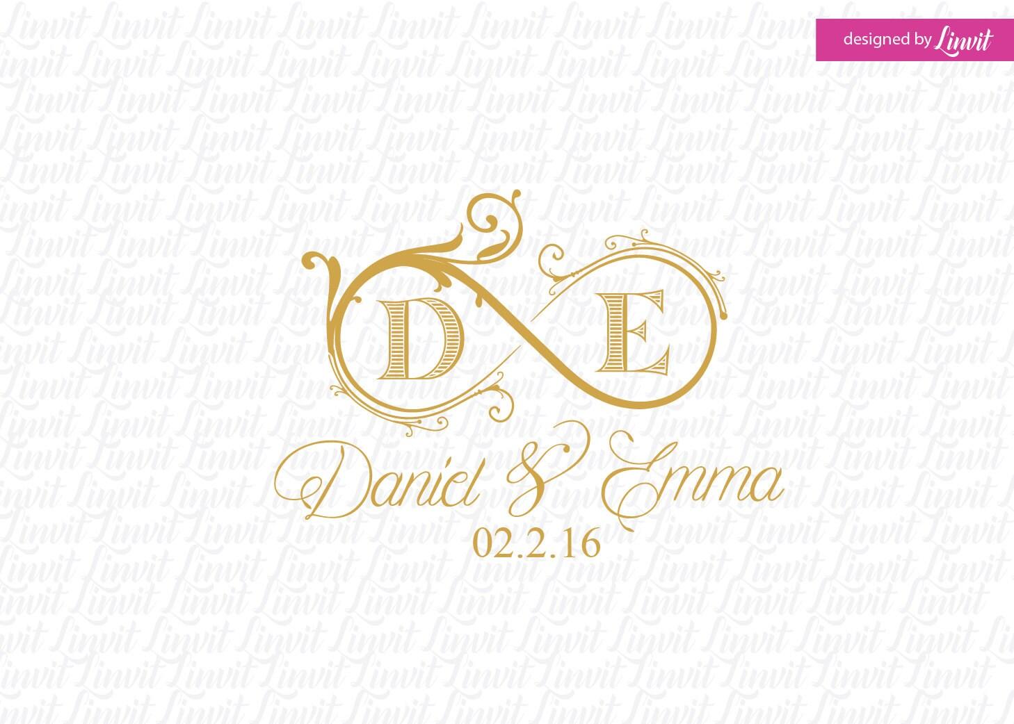 Infinity wedding monogram wedding logo wedding crest custom for Create a monogram free online