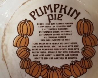 Vintage Pumpkin Pie Recipe Baking Dish