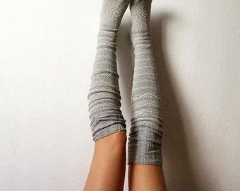 Grey Thigh High Socks Scandinavian Pattern