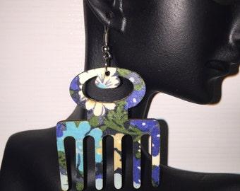 Wooden Earrings - Multi-Colored Fabric Afro Pick Earrings