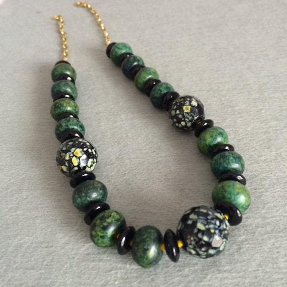 Solid 925 Sterling Silver Necklace 18'' Green Jasper ... |Green Jasper Jewelry