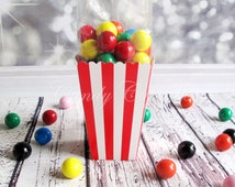 12 Red Stripe Popcorn Boxes. Baby Shower. Bridal Shower. Wedding, Birthday Party. Treat Boxes. Treat, Favour Box, Candy Buffet