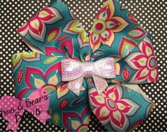 Floral 5 inch  pinwheel bow