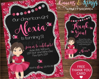 American Girl Invitation, American Girl Doll Birthday Party Invite, American Doll, American party ideas, Girl printables, 1675