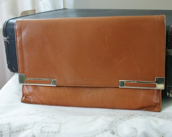 Vintage 60's 70's Butterscotch Brown Genuine Leather Oversize Envelope Clutch by Normandie - BT-285