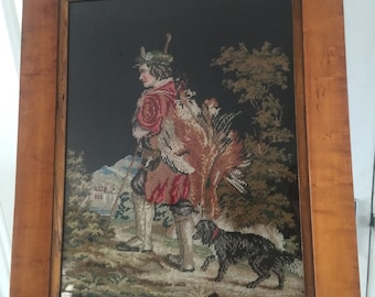 A Stunning 19th Century Tapestry Of Hunter With His Dog In A Maple Wood Frame