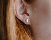 Geo Facet Mini Studs - Mini Silver Earrings - Geometric Silver Minimalist