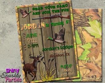 HUNTING BIRTHDAY INVITATION - Hunting Birthday Party Invitation - Camo Invite - Duck Invite - deer theme invites - hunting invitation diy