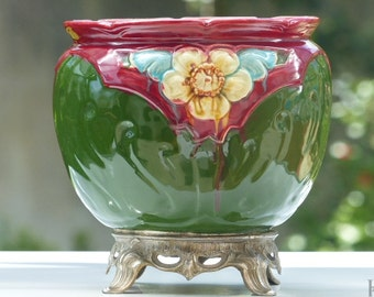 MAJOLICA FRENCH PLANTER Art Nouveau period floral pattern