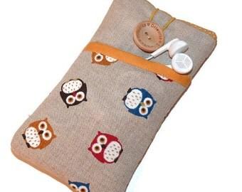 Fabric case Nexus 5X / Nexus 4 Case Cover Pouch / Nexus 6 Sleeve / Nexus 5 Pouch / Fabric Case Nexus 6P Sleeve  -  Padded OWL Phone case