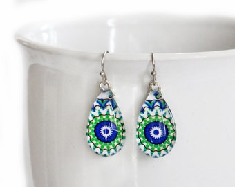Green Blue Kaleidoscope Mandala - Teardrop Glass Dangle Earrings