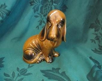Pottery Style Sitting Bloodhound Figurine, Hunting Dog