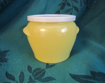 Glasbake Jar Mustard Yellow Milk Glass, Vintage Kitchen