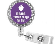 Purple iTeach There's No App For That Teacher Retractable ID Name Tag Badge Holder (3)
