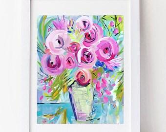 Modern Art Print , Abstract Print, 8 x 10, 16 x 20, pink, blue, aqua, marendevineart