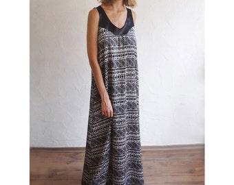 ON SALE Boho Chic Maxi Dress, Geomatric Print Dress, Designer Dress, SisterMdesigns, Vegan Leather