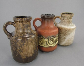 Vintage set of three vases (jug) / Scheurich / 414 16 / brown | West German Pottery | 70s
