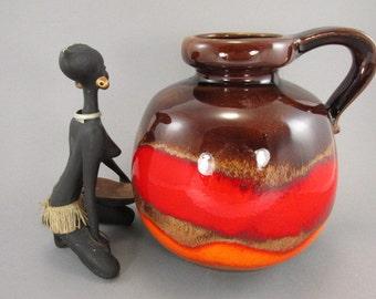 Vintage vase / Scheurich / 484 21 / red, orange, brown | West German Pottery | 60s