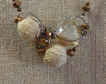 Burlap and bronze necklace