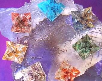 Large 7 Piece ORGONE Chakra Crystal MERKABA Star SET, Sacred Geometry, ,Lapis Lazuli, Amethyst, Carnelian, Aventurine, Turquoise