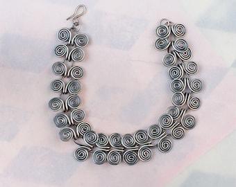 Silver Bracelet - Handmade Sterling Silver Bracelet - Chain Bracelet - Butterfly Links - Delicate Spirals