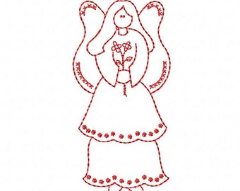 Primitive Angel Redwork Sampler Machine Embroidery Design Pattern for 5x7 Hoop by Titania Creations. Instant Download
