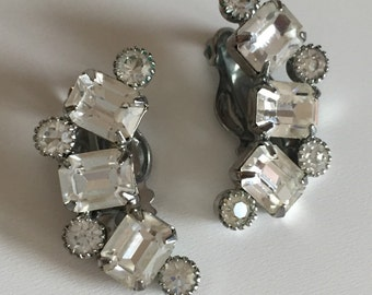 Vintage Weiss Prong Set Climber Crescent Rhinestone Silver Tone Clip Earrings, Weiss Rhinestone Earrings, Vintage Earrings