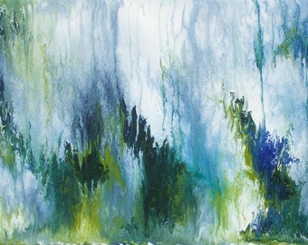 "Fine Art Print Abstract, ""Forest,"" LARGE Painting, Acrylic Modern Fine Art"