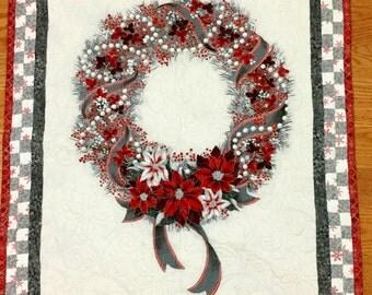 Christmas Wreath wall hanging, holiday wreath wall hanging, holiday wall hanging, quilted wall hanging, quilted holiday decor, red, silver