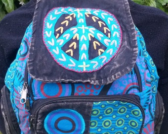 Peace Patchwork Backpack, Cotton Stonewash Flower Rucksack, Hippy Bohemian