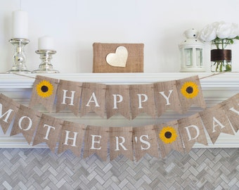 Happy Mother's Day Banner, Mother's Day Decor, Mother's Day Burlap Banner, Mother's Day Photo Prop, B301