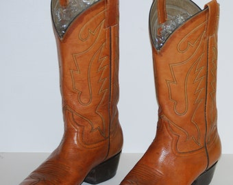 Vintage FADA Tan Leather Western Cowboy Boots Size 7