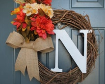 """Use code FALL30 for 30% off! 18"""" Grapevine Wreath, FALL Wreath, orange yellow white flowers with leaves, burlap bow, w/ or w/out initial"""