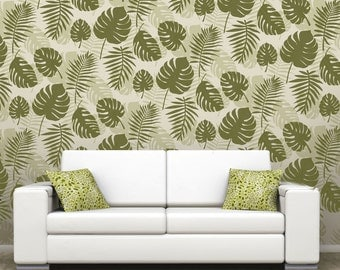 MONSTERA Swiss Cheese plant Allover Wallpaper Stencil /  Reusable / DIY / Home Decor / Interiors, Feature Wall / Wallpaper alternative