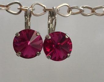 Fuchsia Crystal Earrings, Swarovski Fuchsia Earrings,  Swarovski Pink Crystal Earrings, Bridesmaid Earrings