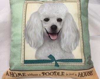White Poodle Pillow