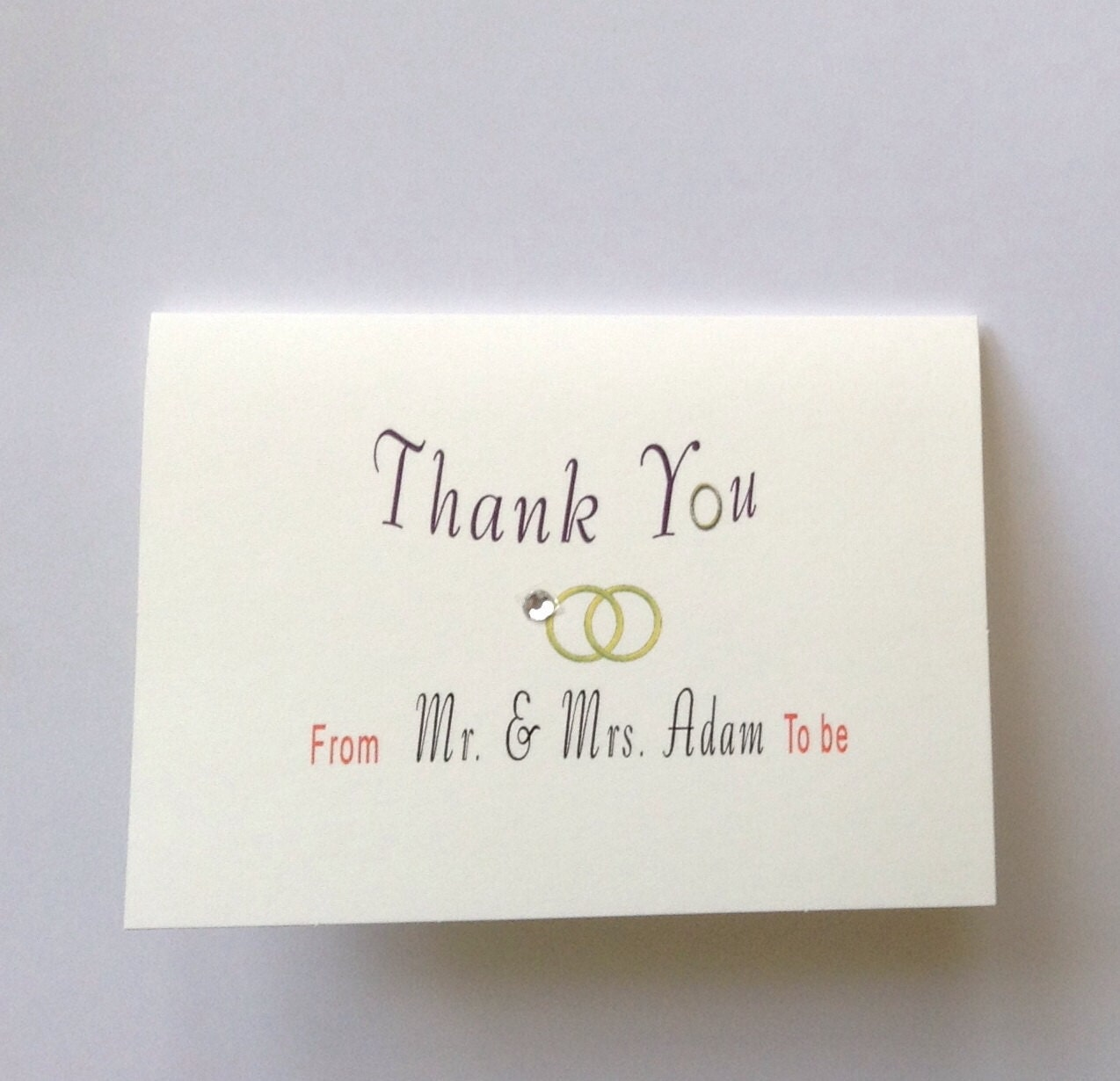10 wedding thank you card with envelope