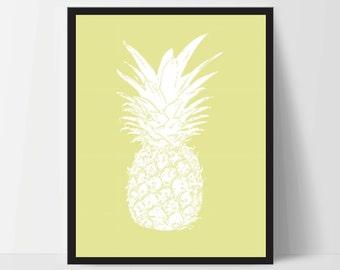 Yellow Pineapple, Wall Art, Artwork, Home Decor, Modern Print, Print Art, Abstract Art, Wall Decor, Decorations, Digital Print